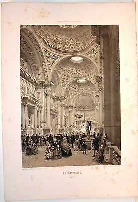 Stampa antica PARIGI PARIS interno Église de la Madeleine 1861 Old antique print