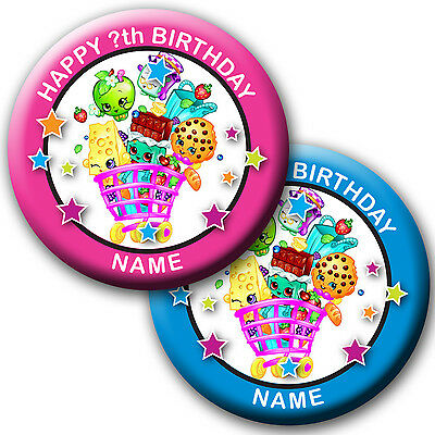 PERSONALISED SHOPKINS SEASON 4 BIRTHDAY BADGES/ MAGNETS/MIRRORS 58MM or 77MM
