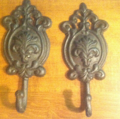 SET OF 2 Rustic Cast Iron Scroll Single Hook