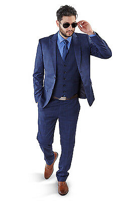 Slim Fit Men Suit Blue 2 Button Checkered Windowpane Plaid Vest Optional By Azar