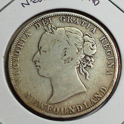 1894 Newfoundland Canada 50 Cents Sterling Silver Better Grade Coin