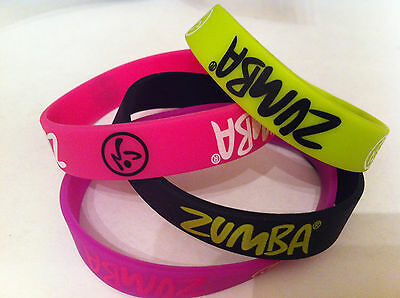 ZUMBA Fitness rubber bracelets lot 4-pack pink green black purple