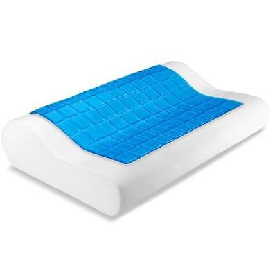 2 x Cool Gel Top High Density Memory Foam Contour Shape Pillow with Covers