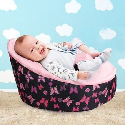 Pink Baby Girl Resting/Feeding Waterproof Chair Bean Bag with 3 Point Harness