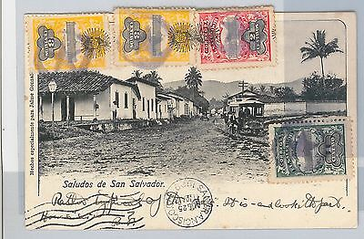 51068 -  EL SALVADOR -  POSTAL HISTORY - POSTCARD to SAN FRANCISCO USA 1909