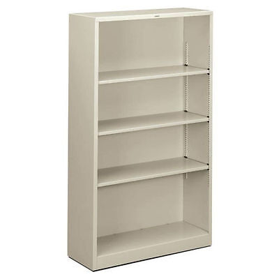 HON Brigade 4-Shelf Steel Bookcase 34-1/2W Light Gray