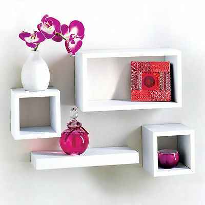 Modern set of 4 Floating Wall Storage Display Unit Cubes Shelves - White