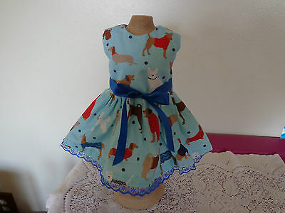 doll dress for 18 inch american girl different dog on blue handmade rare 121