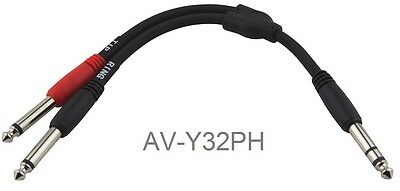 "6-inch 1/4"" Stereo Male to Dual 1/4"" Mono Male (Left/Right) Y-Cable, AV-Y32PH"