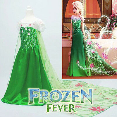 Girl Frozen Fever Dress Costume Princess Queen Elsa Party Birthday size 1-12Yrs