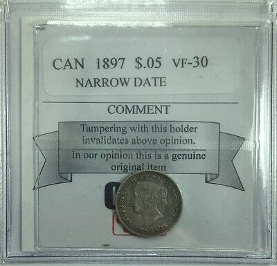 1897 Canadian Five Cent Small Silver Coin Mart Graded VF-30 Narrow Date