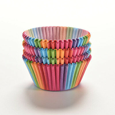 100Pcs Colorful Rainbow Paper Cake Cupcake Liners Baking Muffin Cup Cases Party