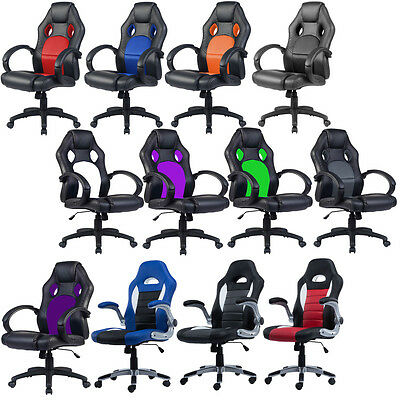 Office Chair Racing Sports Car Seat Gaming Armchair Computer Reclining Executive