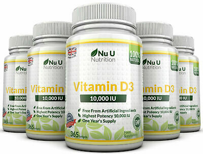 Vitamin D3 10000iu 5 x 365 Soft Gels  High Strength 100% Back Guarantee Nu U