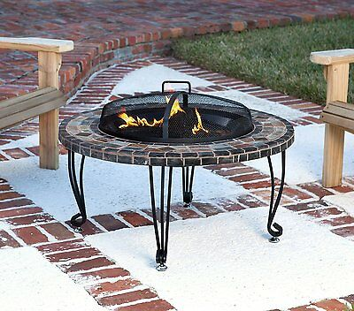 AmazonBasics Natural Stone Fire Pit with Copper Accents, 34-Inch 61809 BRAND NEW
