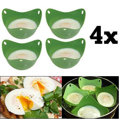 4x Silicone Pan Mould Egg Poachers Poaching Pods Kitchen Cookware Breakfast UK
