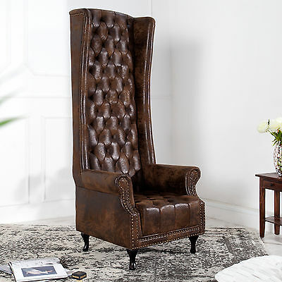 chesterfield ohrensessel vollleder antik leder sessel. Black Bedroom Furniture Sets. Home Design Ideas