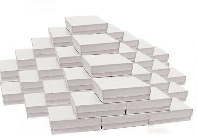 "200 White Swirl Cotton Filled Jewelry Packaging Gift Boxes 3 1/2"" x 3 1/2"" x 1"""