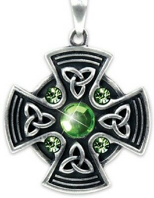 Celtic Irish Scottish Iona Cross Shield Pendant Necklace Green Zirconias