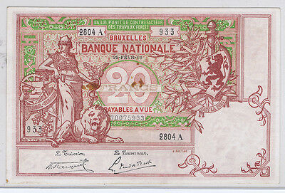 BELGIUM BANQUE NATIONALE BRUXELLES 20 FRANCS of 1919 PICK # 67 XF 40 with LION