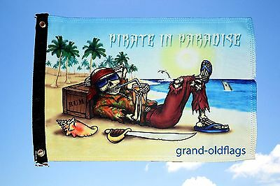 """Pirate Flag 12""""x18"""" Pirate In Paradise Double Sided Boat/motorcycle"""