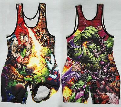 The Incredible Fighting Hulk Wrestling Singlet Wear Uniform Weightlifting Outfit