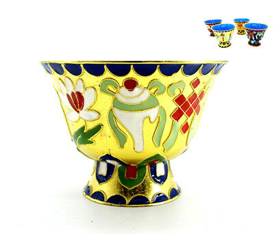 Tibetan Buddhist 8 Auspicious Cloisonne Traditional Brass Holy Water Bowls Cup