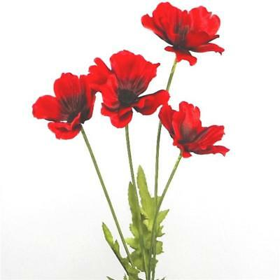 48cm Artificial Flame Red Poppy Flower Stem
