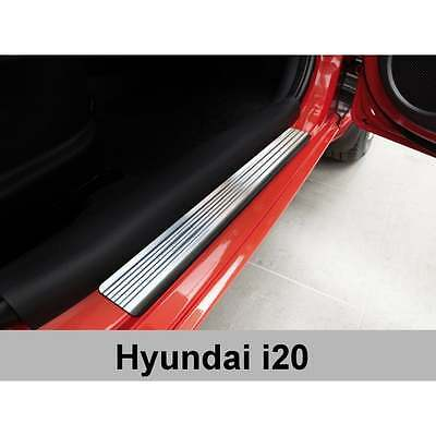 DCP Stainless steel door sill plate protectors for Hyundai i20 2009-2014