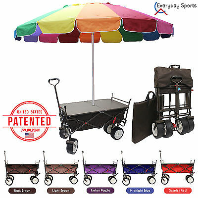 All-In-One World 1st Outdoor Camping Cart Folding Wagon TableTop Beach Umbrella