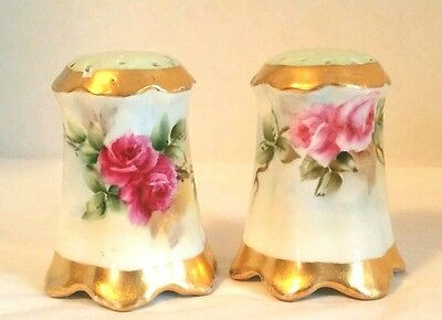 Antique Hand Painted Ruby Pink Roses Design Salt & Pepper Shakers Set    Signed.