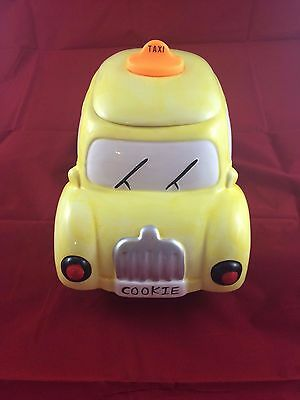 Vintage Yellow Taxi  Cookie Jar w/Lights & Sounds - AMC NY Hand Painted