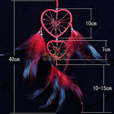 Dream Catcher With feather Double Heart Car Hanging Decor Ornament Gift Red