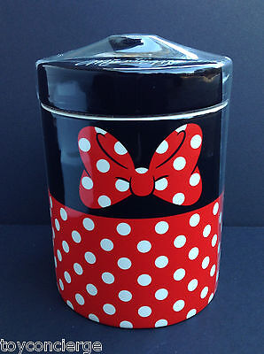 DISNEY Parks KITCHEN Cannister COOKIE Jar MINNIE MOUSE Red Black Ceramic NEW
