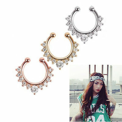 HOT 1pc Women Fake Septum Clicker Nose Ring Non Piercing Body Jewelry
