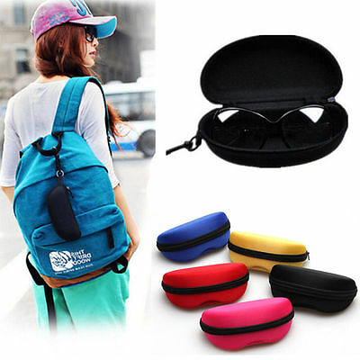 Portable Zipper Eye Glasses Sunglasses Clam Shell Hard Case Protector Box