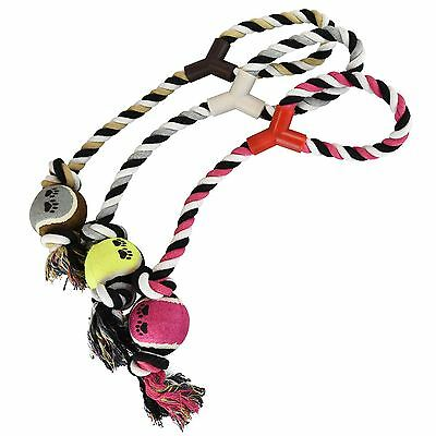 3 Pack Pet Dog Rope With Tennis Ball Tug Toy Fun For Puppy Exercise New