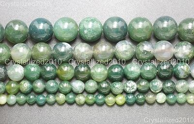 Natural Green Moss Agate Gemstone Round Loose Beads 4mm 6mm 8mm 10mm 12mm 15""
