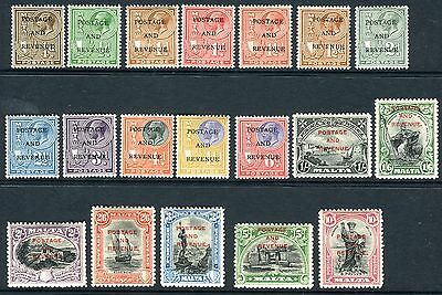MALTA-1930 ¼d to 10/-.  A superb lightly mounted mint set of 19 values V4929W