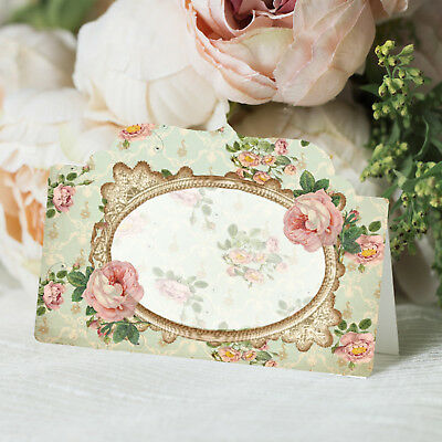 Shabby Chic Place Cards, Wedding Name Seat Cards, Reception, Floral Tent Card