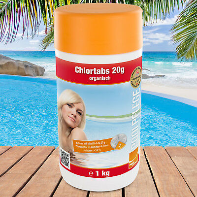 1kg Chlortabs 20g Chlortabletten Chlor Pool Schwimmbad Swimmingpool Poolchemie