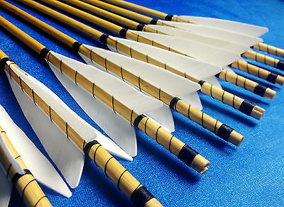 New Handmade Self Wood Arrows Pretty Fletching Hunting For Longbow Recurve Bow