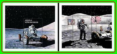 ANGOLA 1999 SPACE RESEARCH =APOLLO 11 x2 (DID YOU SEE two?) S/SH MAN ON MOON MNH