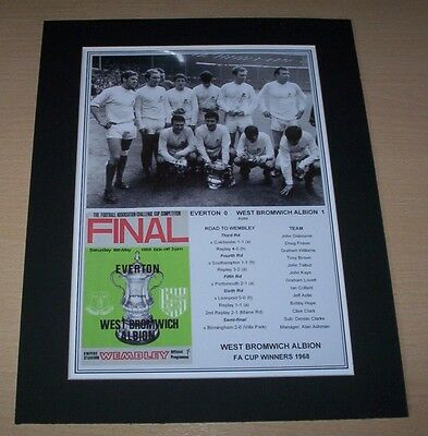 West Bromwich Albion WBA - 1968 FA Cup Winners Print Mounted To A4
