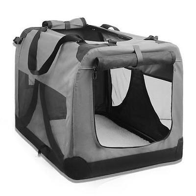 Portable Pet Cat Dog Soft Travel Crate Carrier Cage, Washable, Grey, Large