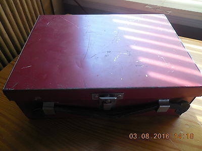 Vintage  Metal Lunch Box RED Farmhouse Barn Leather Handle Divided Old 9""