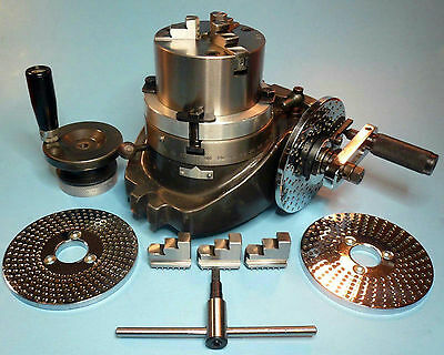 """4"""" Rotary Table + Dividing Plates + 3-Jaw x 3-1/4"""" Chuck On Back Plate New"""