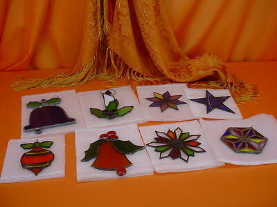 Lot 8 Excellent ARTISAN CREATED Real STAINED GLASS CHRISTMAS ORNAMENTS