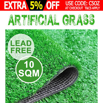 10 SQM Artificial Grass Synthetic Turf Plastic Green Plant Fake Lawn Flooring