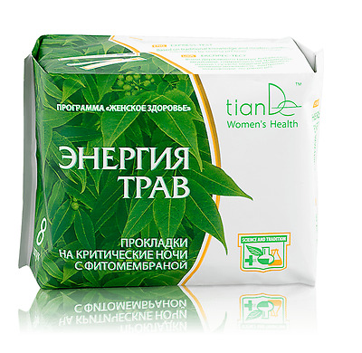 TianDe Herbal Energy Night Phyto-Membrane Sanitary Pads, 8 pcs.